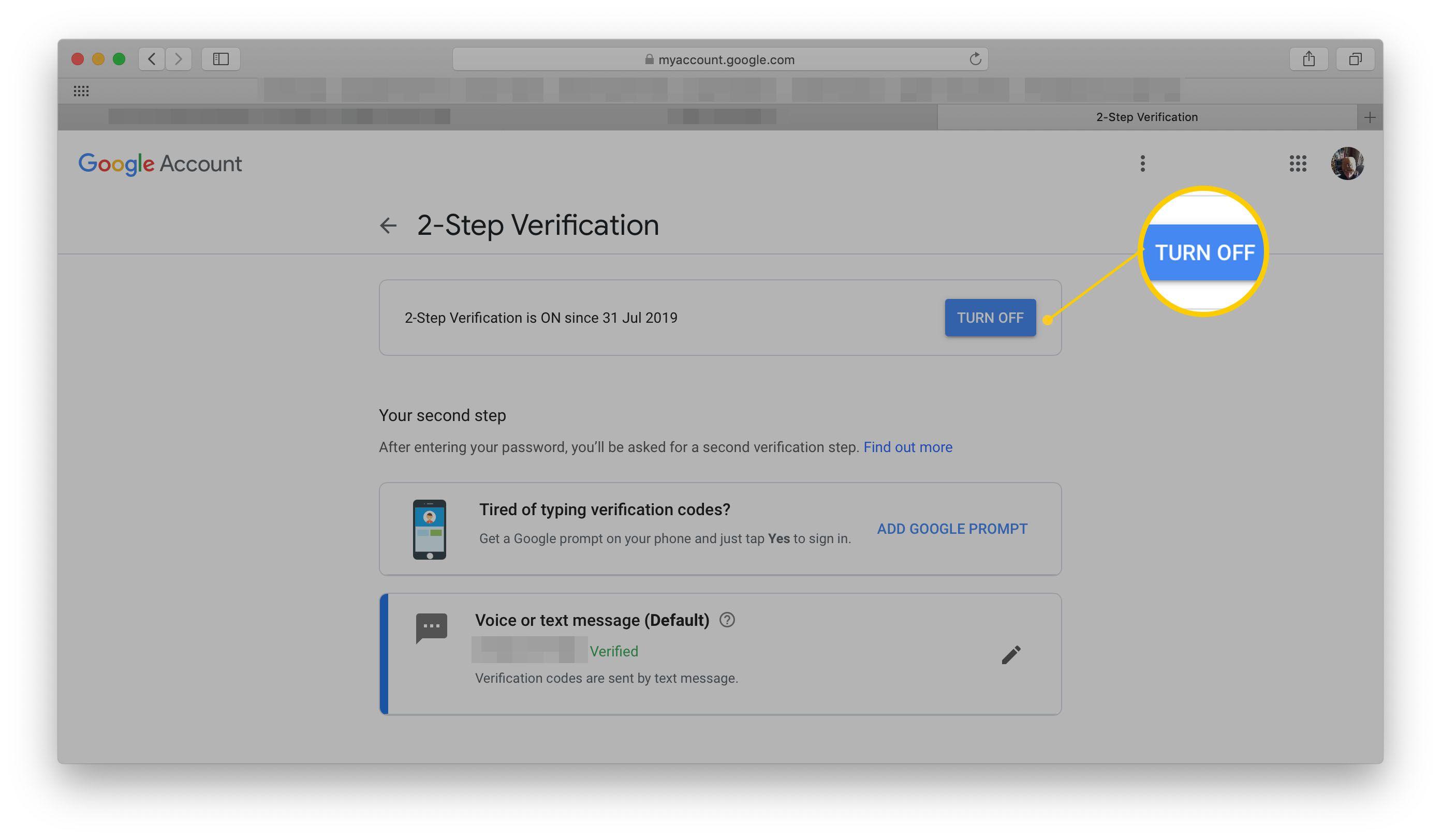 Google 2-Step Verification Turn Off page
