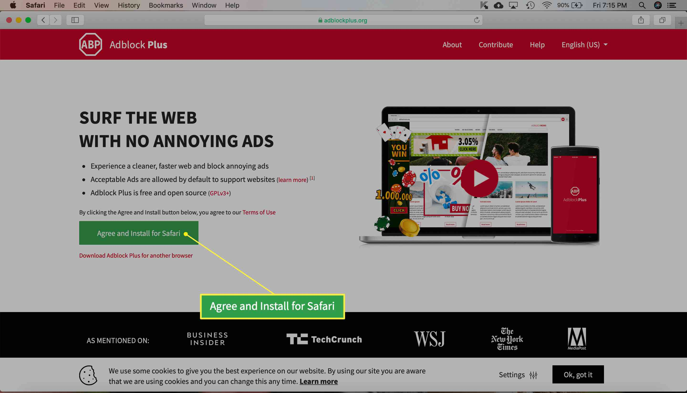 Adblock Plus extension download screen with Agree and Install for Safari highlighted
