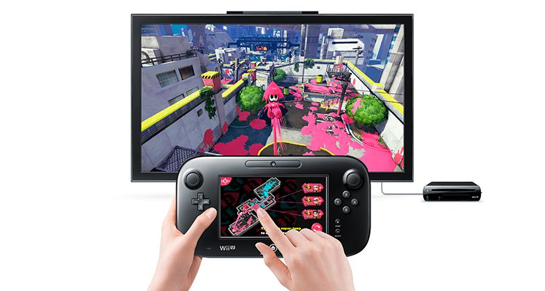 A screen from Nintendo's Wii U game Splatoon with controller in hands