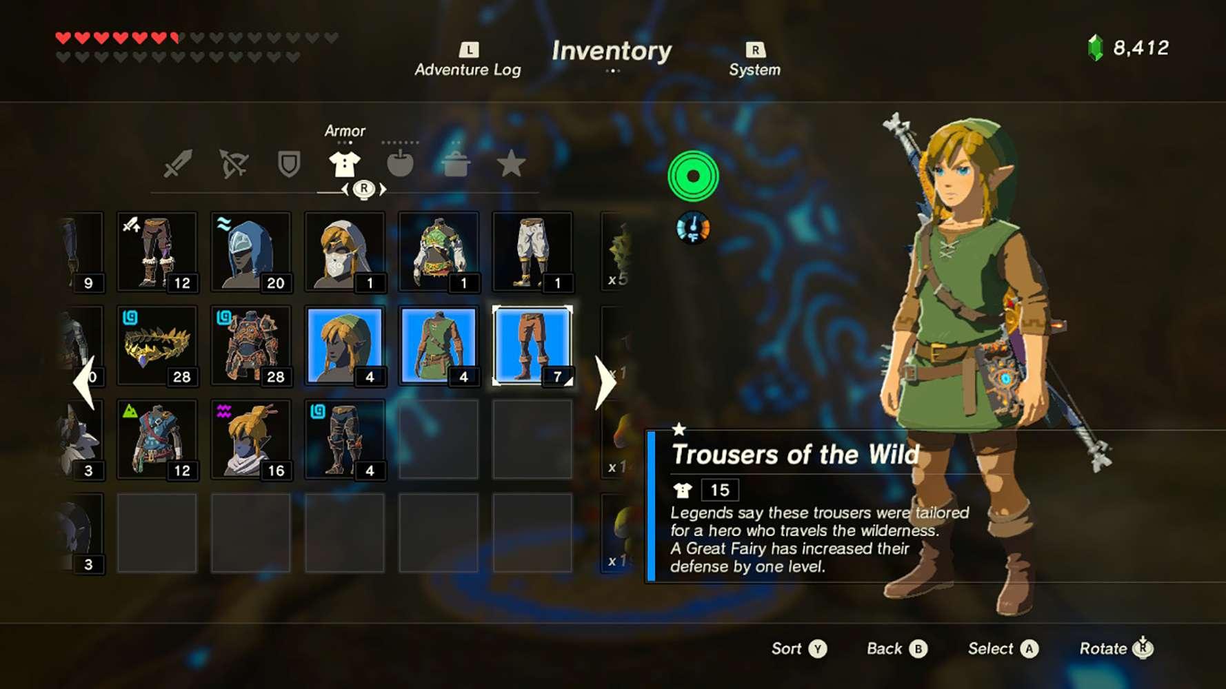 Screenshot of the classic armor in Zelda: BOTW