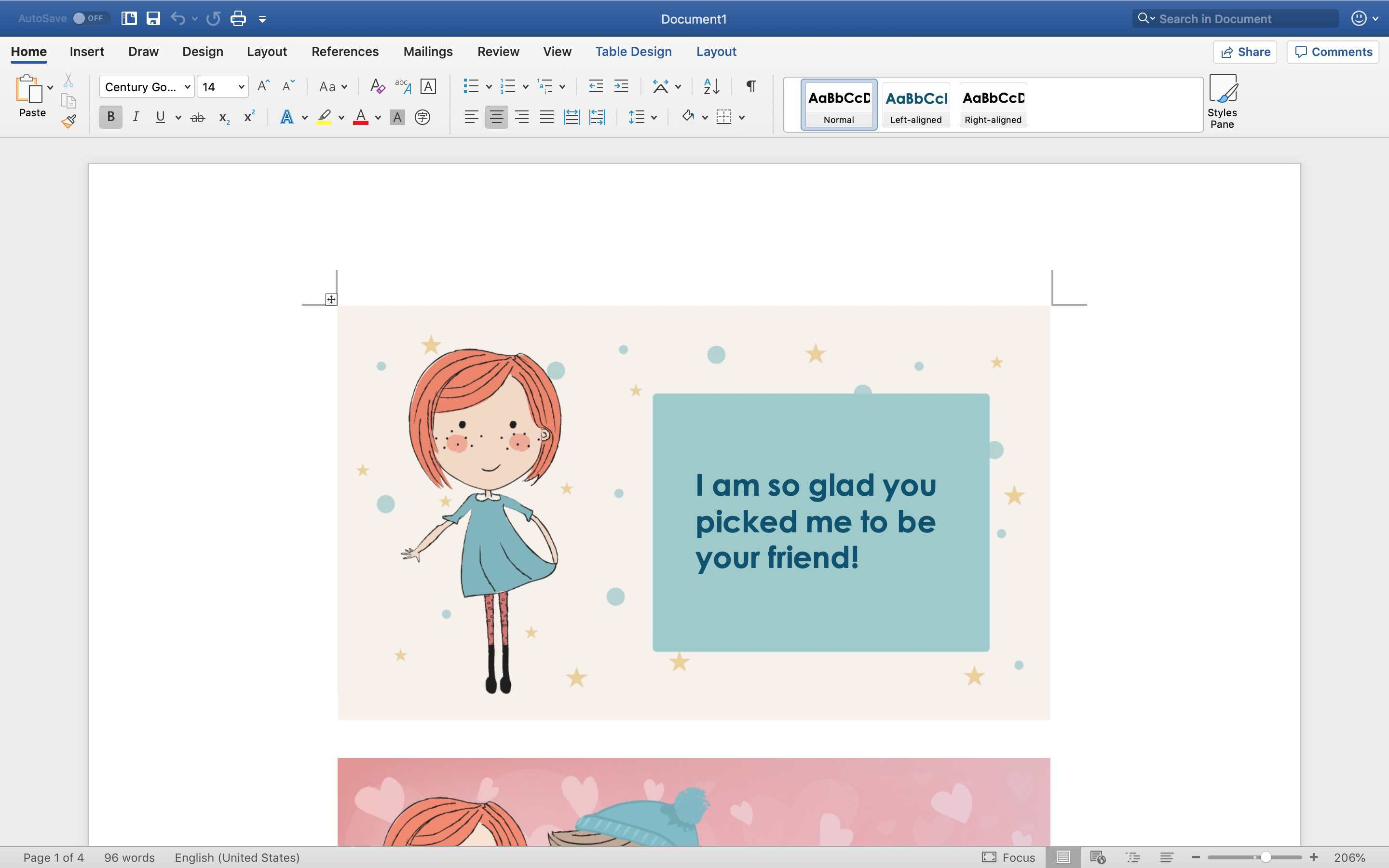 Valentine's Day cards for kids Word template