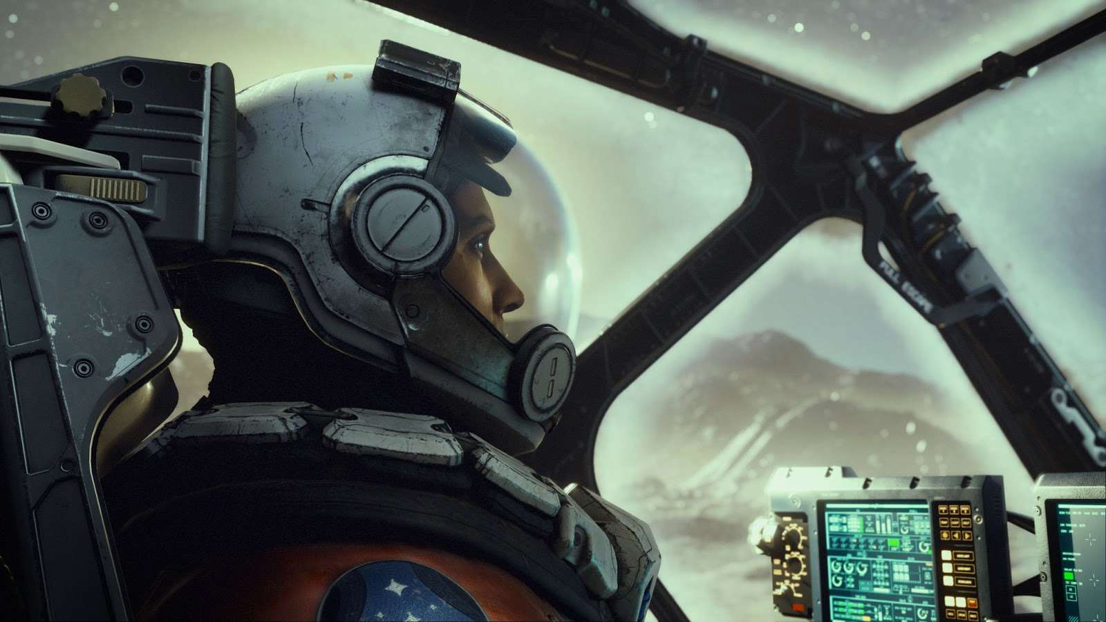 Screenshot of a character in a flying craft cockpit from Starfield.