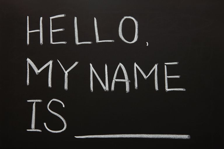 "Chalk board with, ""Hello my name is"" written on it."
