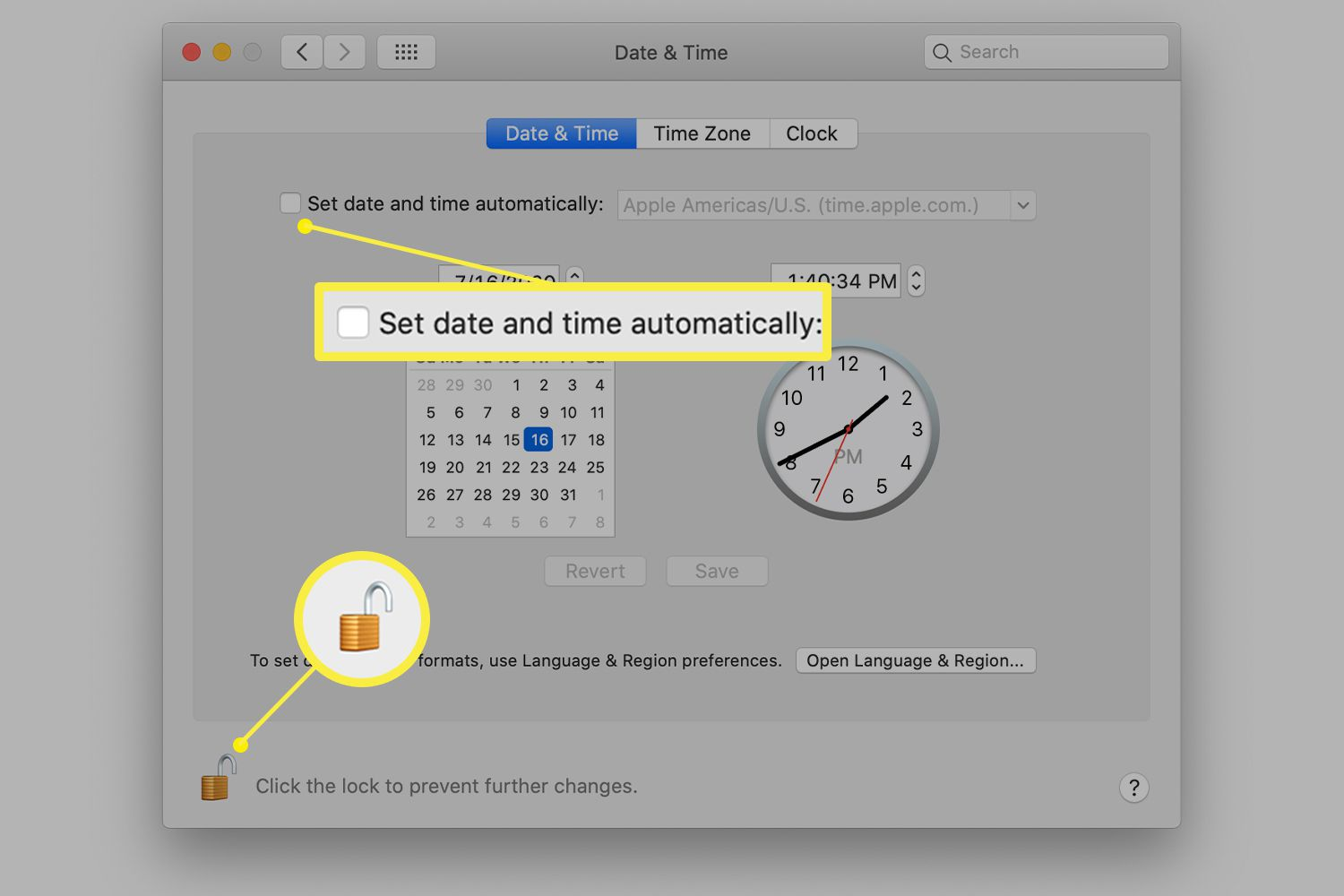 Mac Date & Time preferences