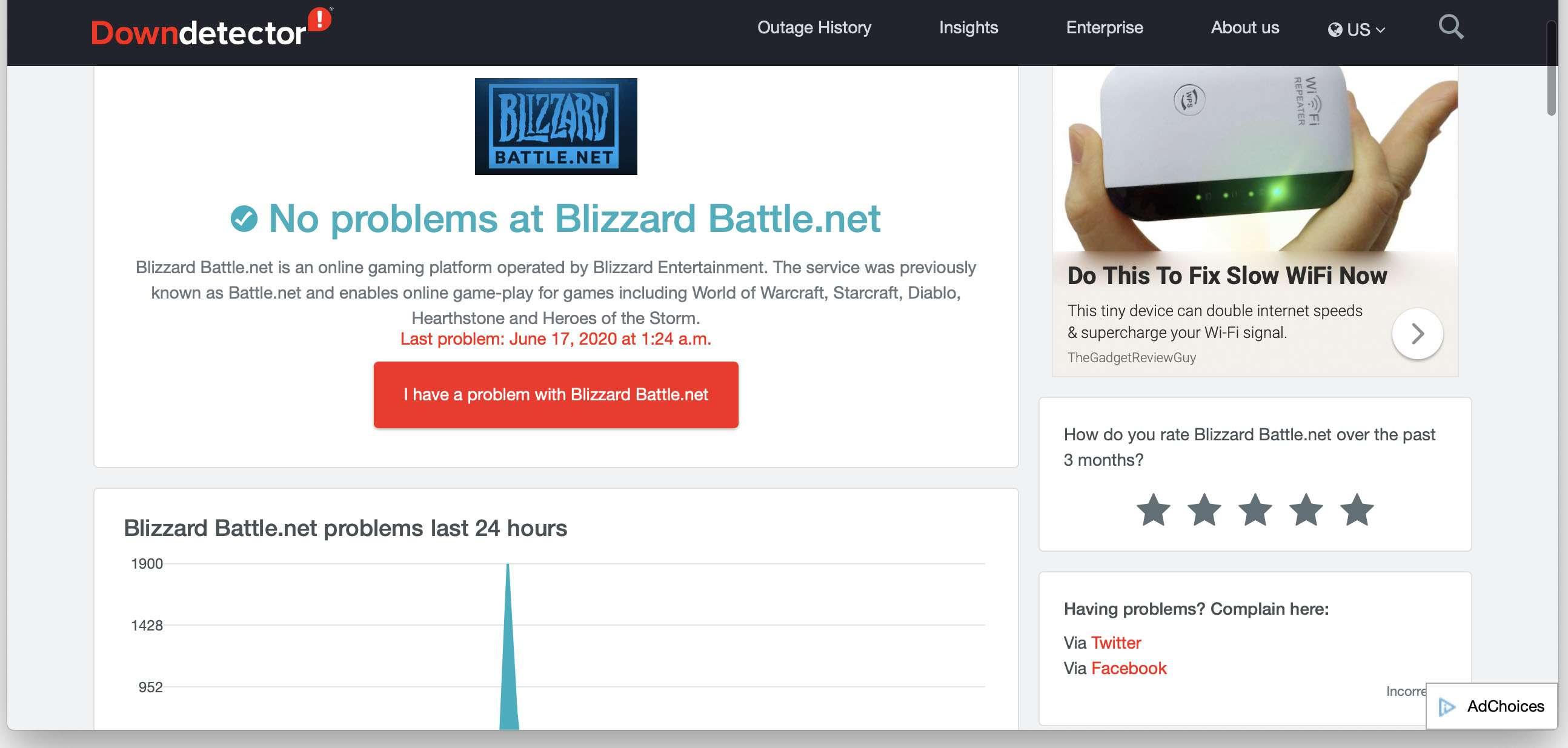 Battlenet service status on DownDetector