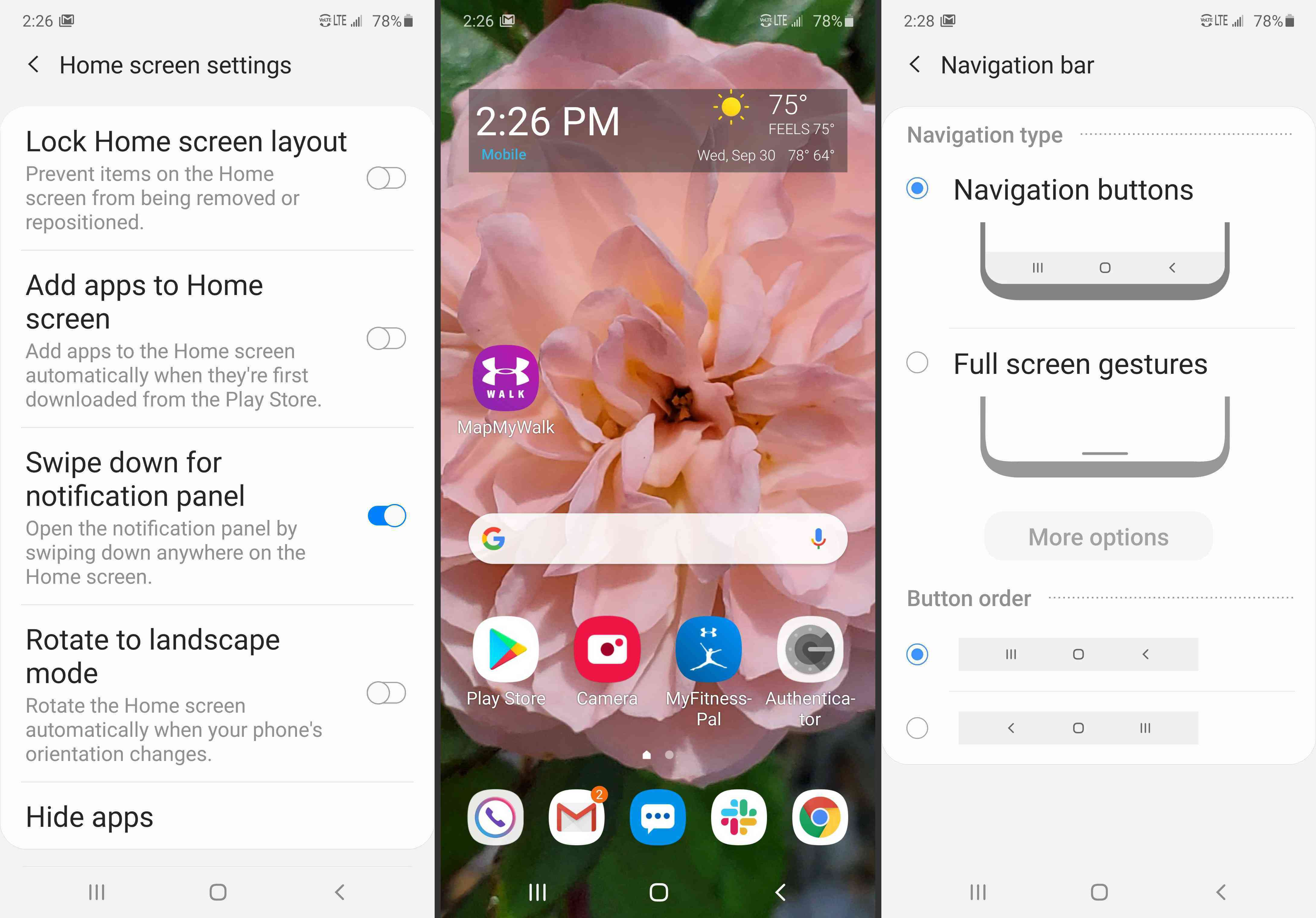 Swipe for notification panel, bottom navigation bar, and navigation bar options on the Note 10 & 10+.