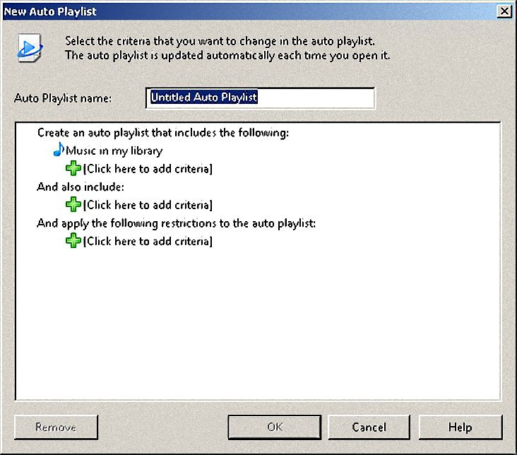 Creating Auto Playlists in Windows Media Player 11