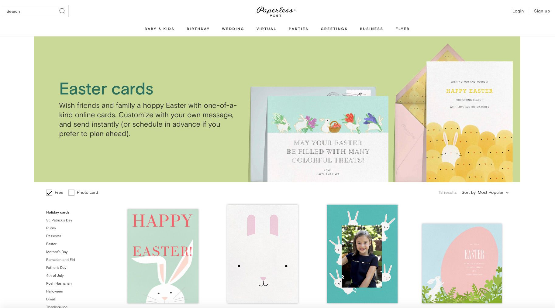 Paperless Post Free Easter E-Cards