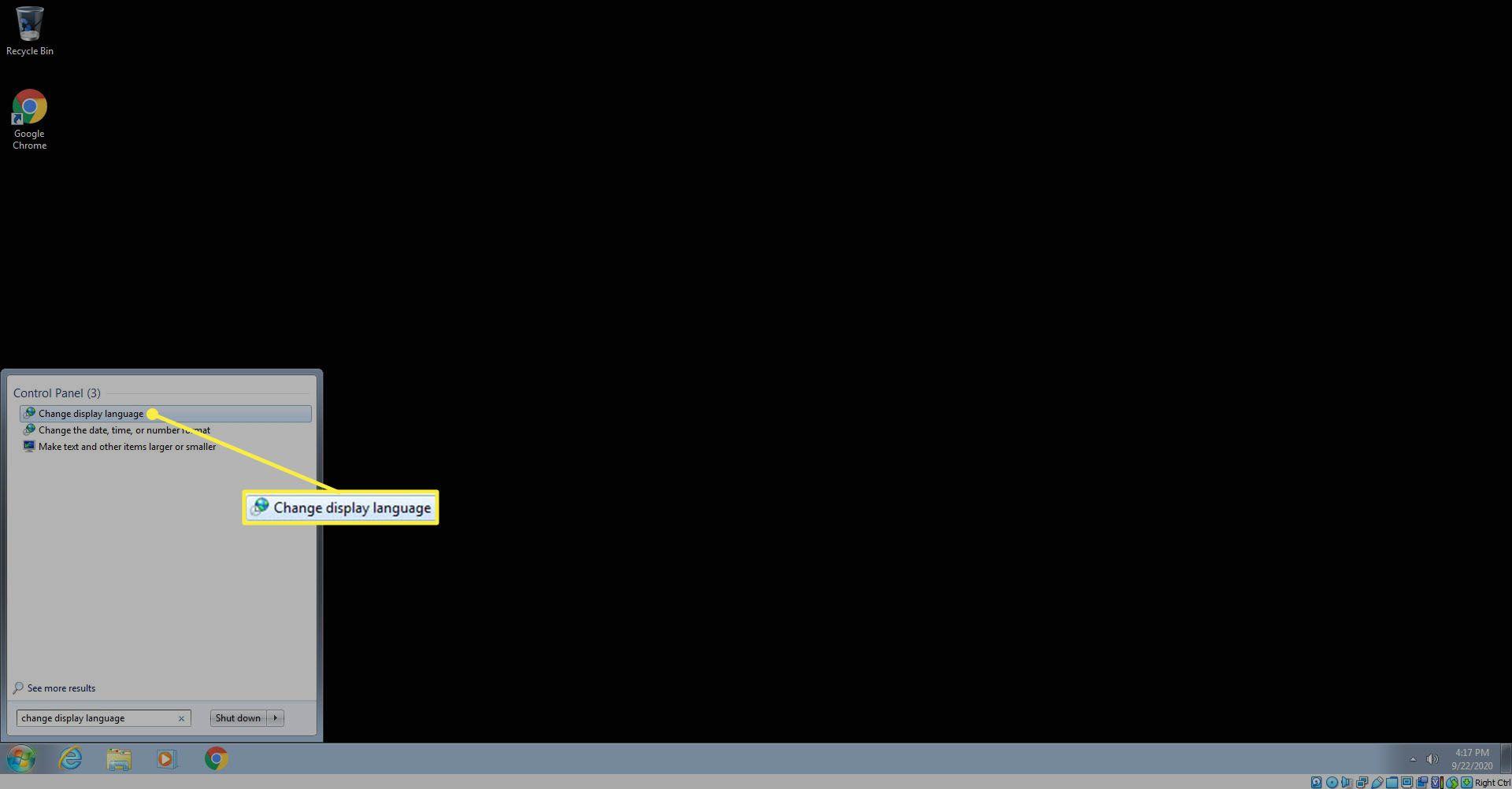 Selecting Change Display languages.
