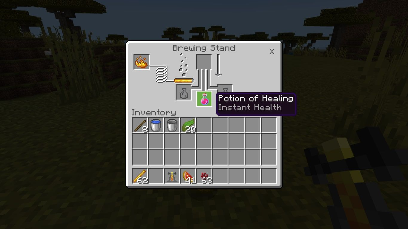 When the process is done, your bottle will now contain a Potion of Healing (Instant Health).