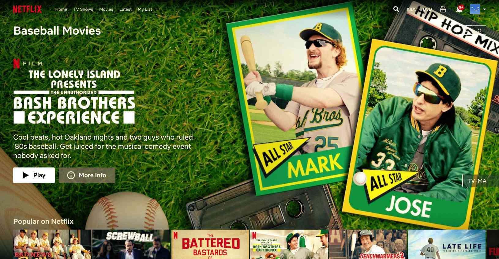 Baseball Movie Bash Brothers found with Netflix hidden codes