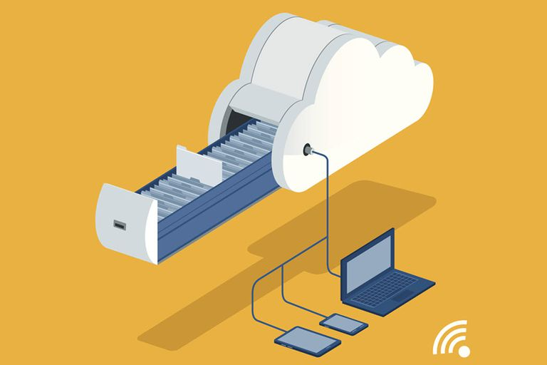 An illustration of files syncing in the cloud and across numerous devices including a phone, tablet, and laptop.