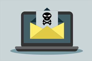 An unsafe email on a laptop that needs to have a secure email service.