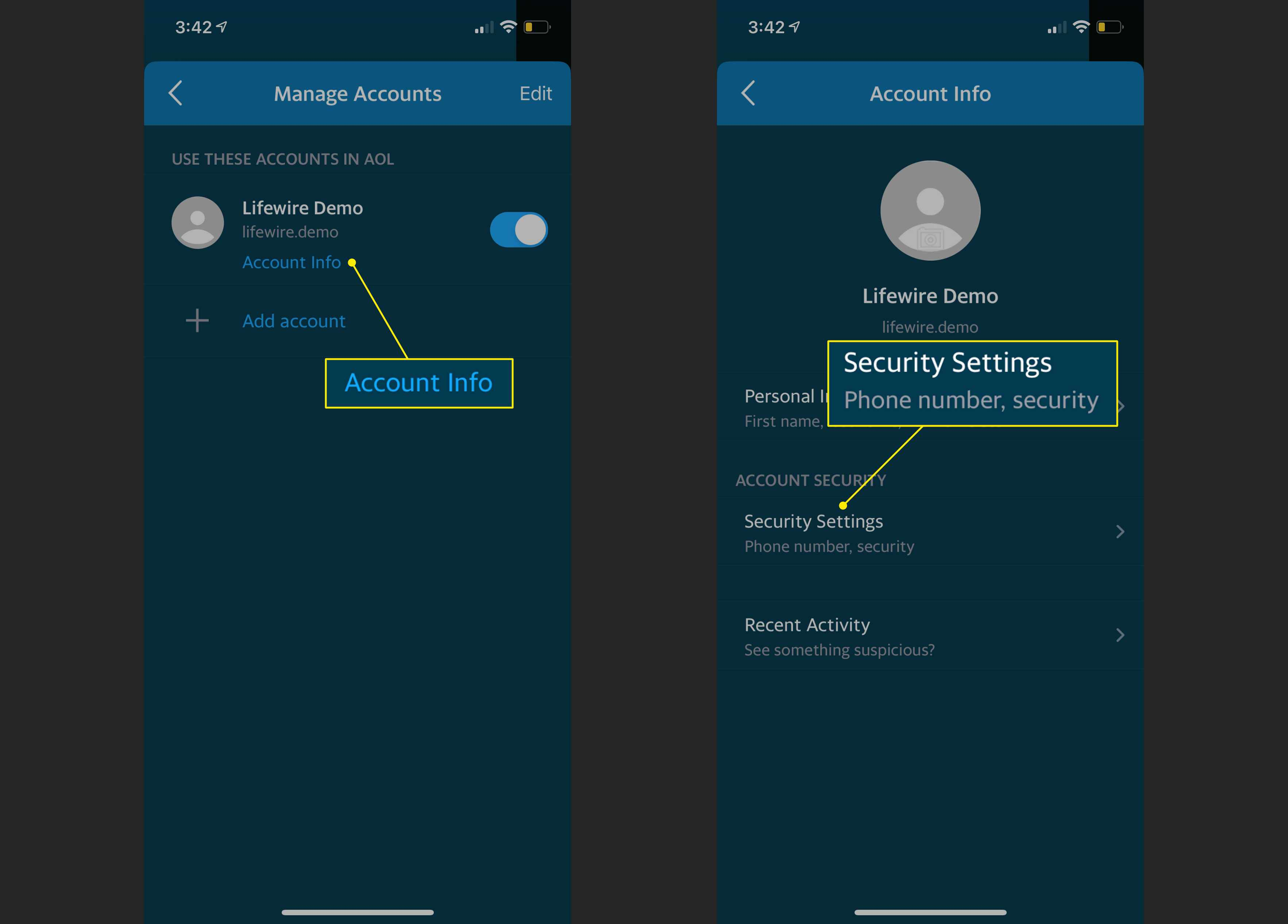 Account info and Security Settings in the AOL app