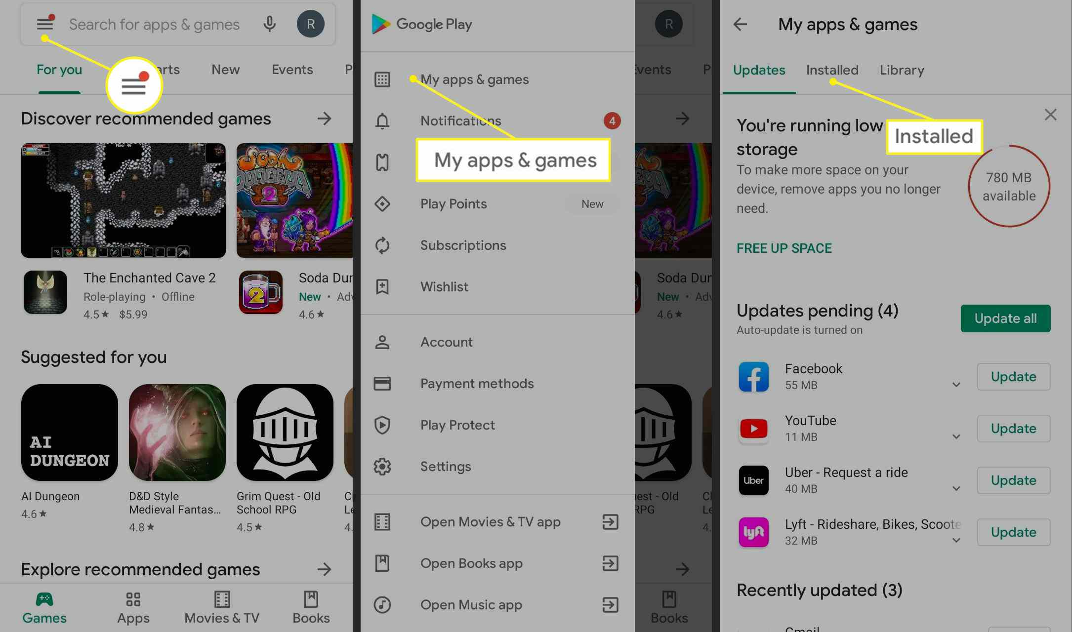Google Play app path to installed apps & games