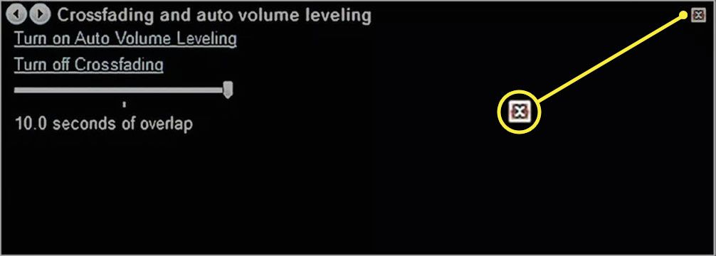 Selecting the X to close Crossfading and auto volume leveling settings in Windows Media Player 12.