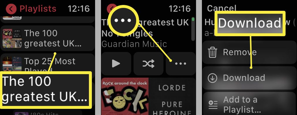 Steps required on Apple Watch to download music