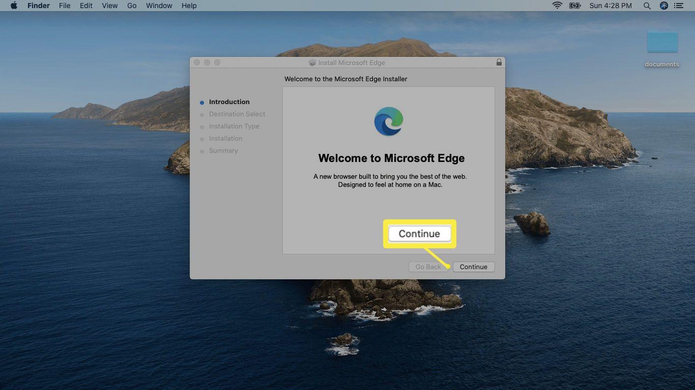 A screenshot of the Microsoft Edge installer on Mac.
