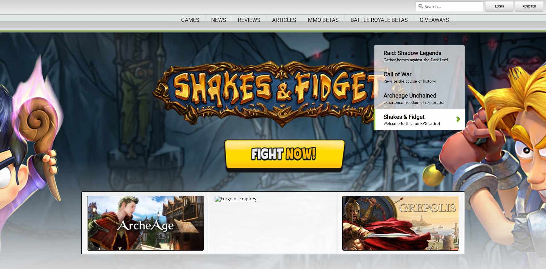 The MMOGames.com homepage