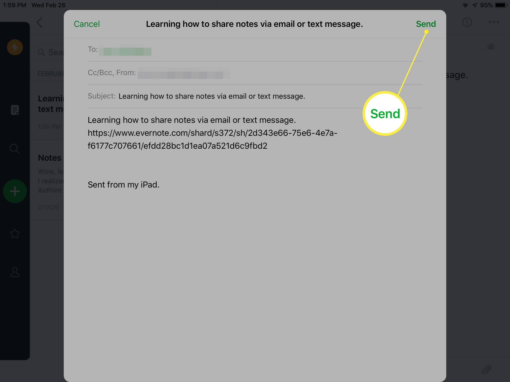 Email containing link sent from Evernote
