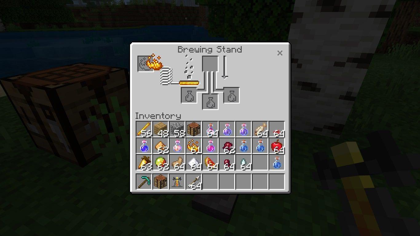 Blaze Powder in the Minecraft brewing menu