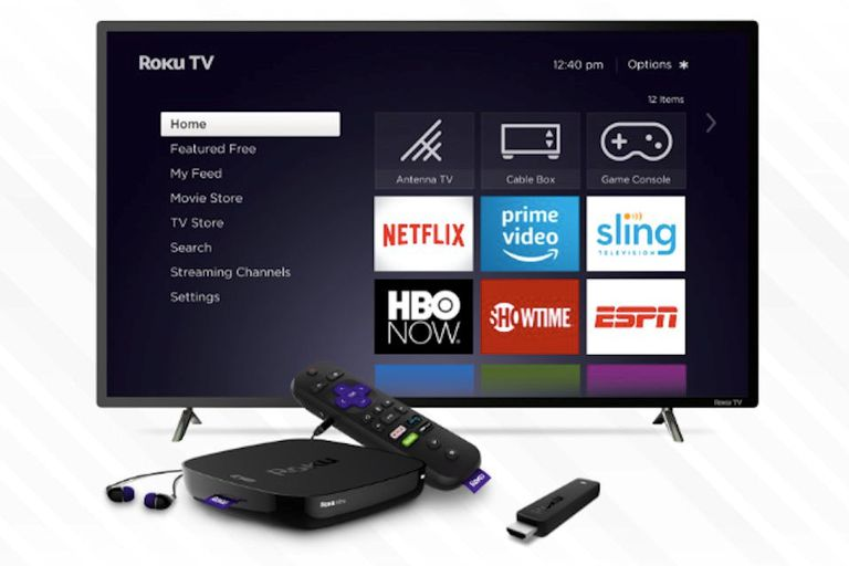 Roku on TV with equipment in front of it