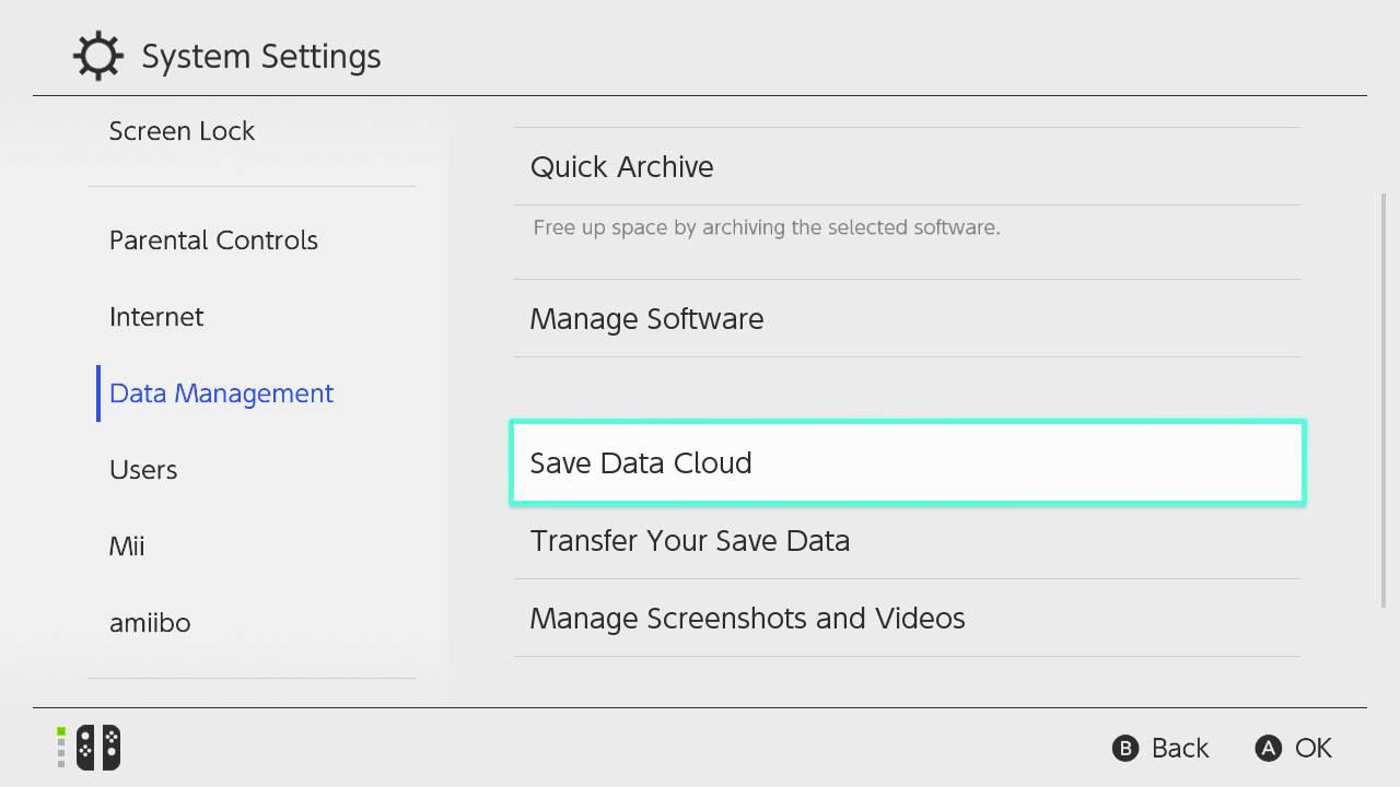 On the other system, download your save files by going to System Settings > Data Management > Save Data Cloud.