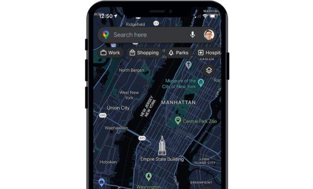 Google Maps iOS dark mode