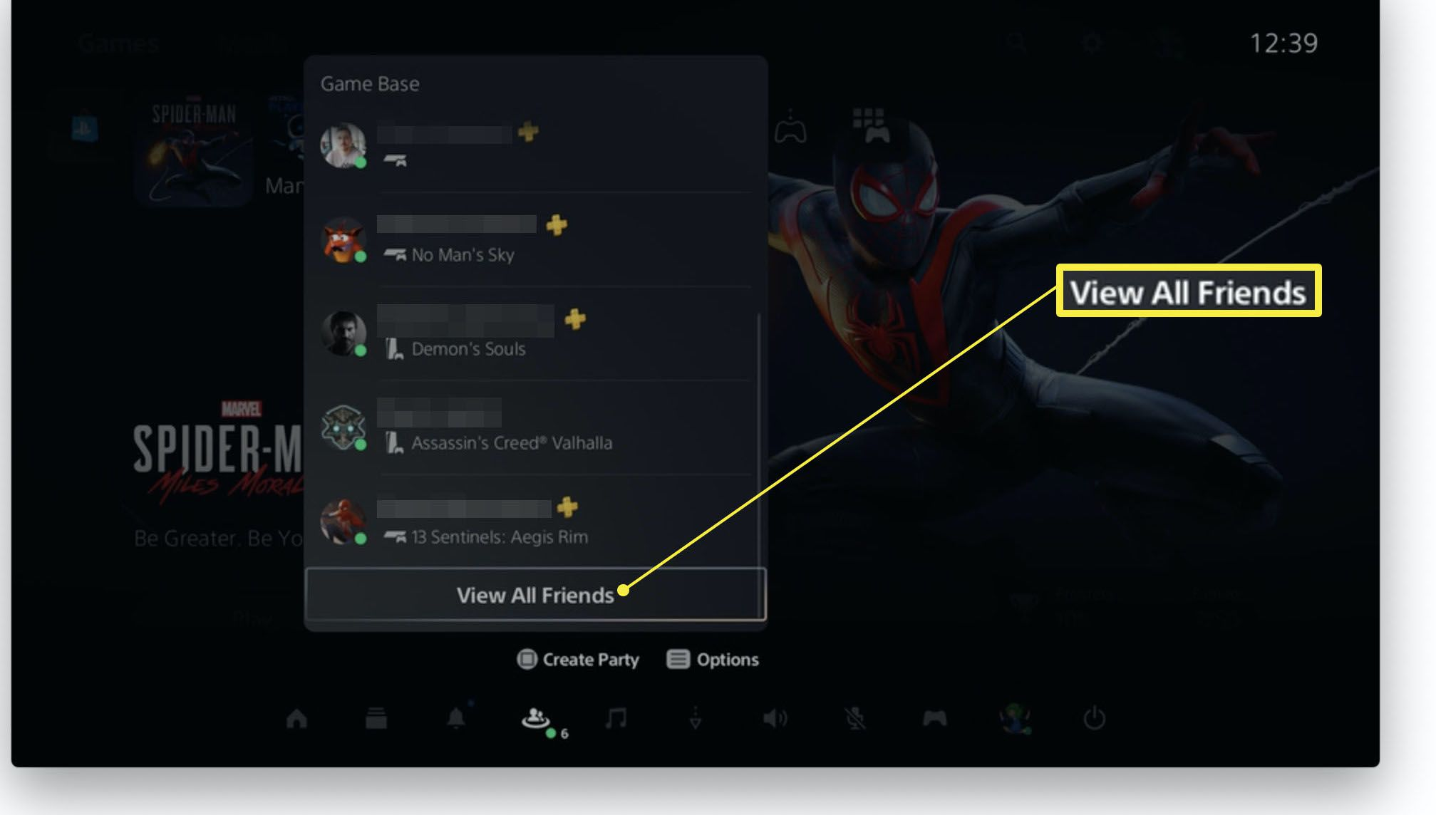 PlayStation 5 dashboard with View All Friends highlighted