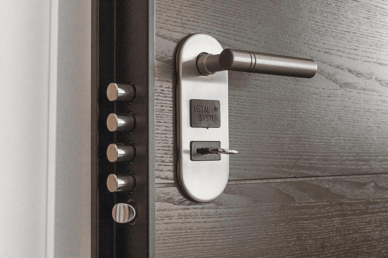 Photo of a smart home door lock.