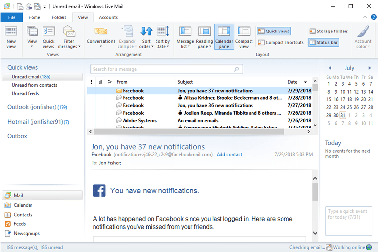 Screenshot of unread mail in Windows Live Mail