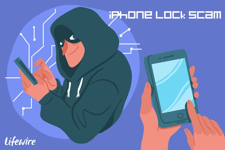 Criminal looking person tapping on an iPhone - iPhone Lock Scam