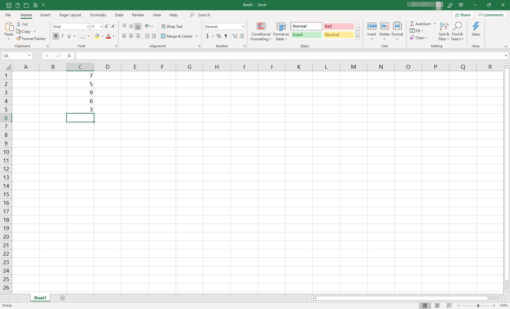 MS Excel spreadsheet with some cells populated with data