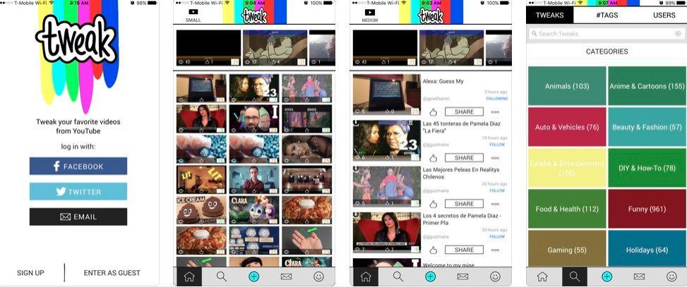 Different screens of the Tweak app