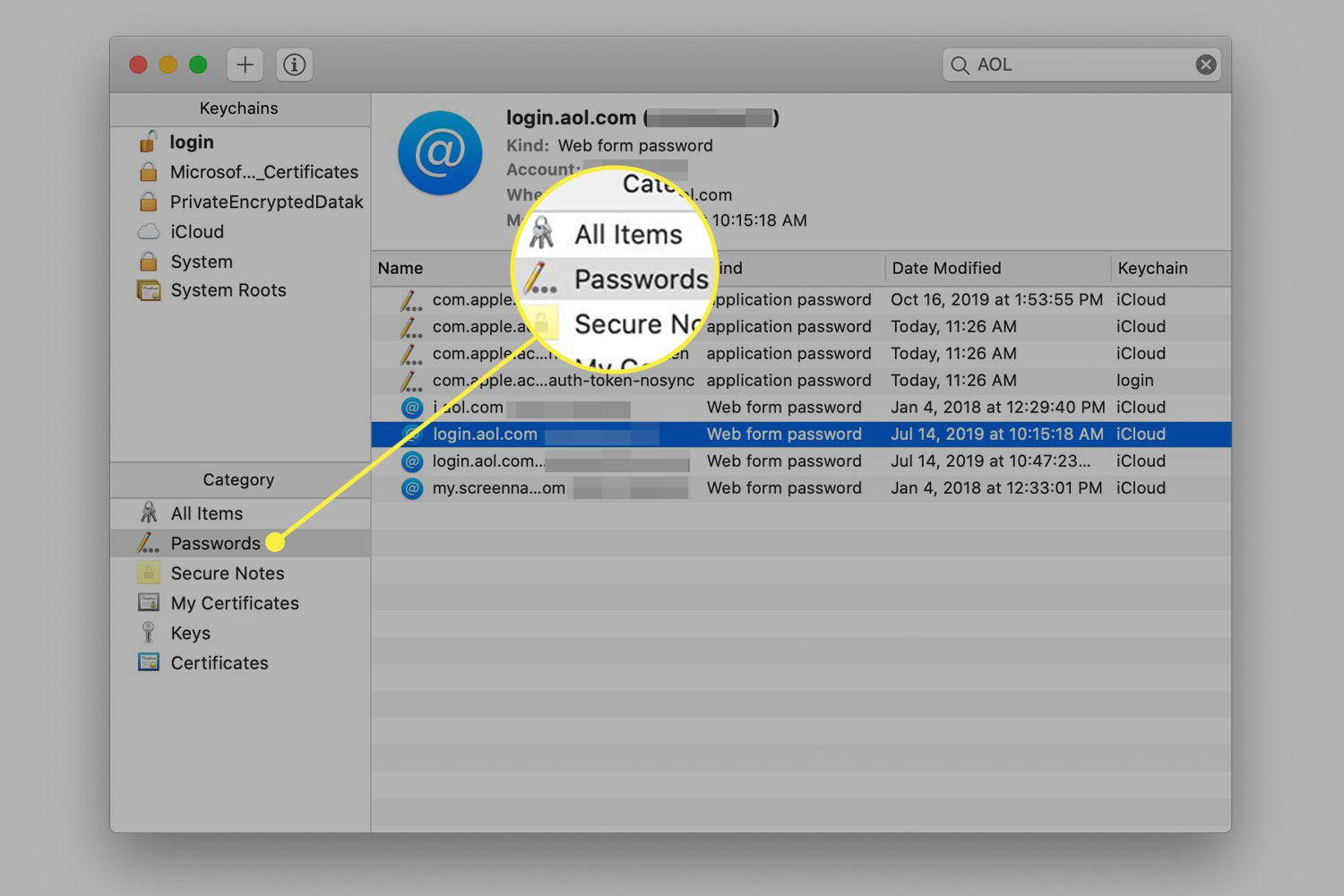 A screenshot of Keychain Manager with the Passwords category highlighted
