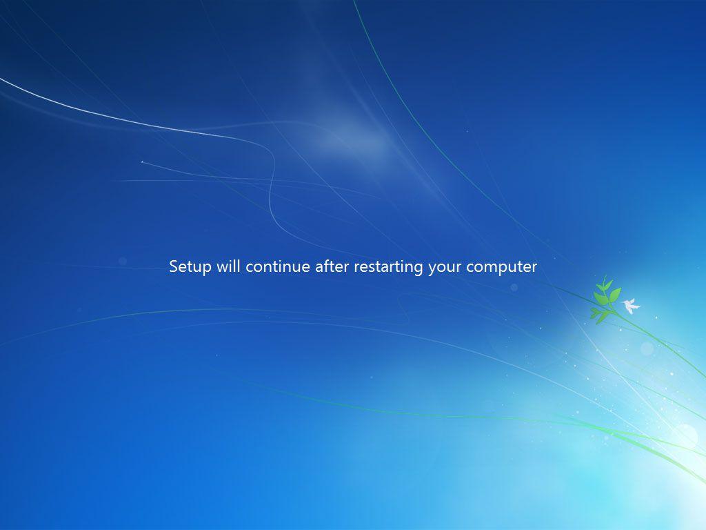 Windows 7 restarting the computer after setup