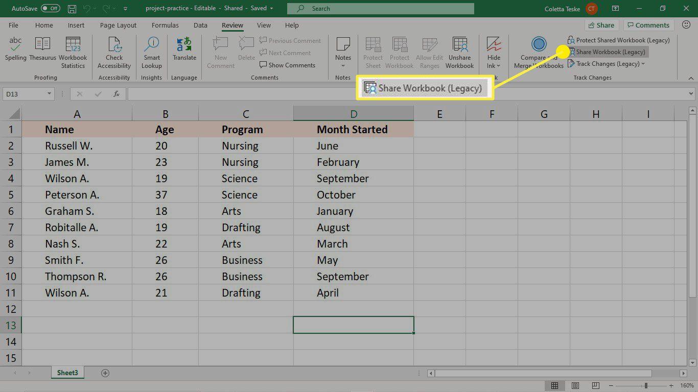 Share an Excel workbook