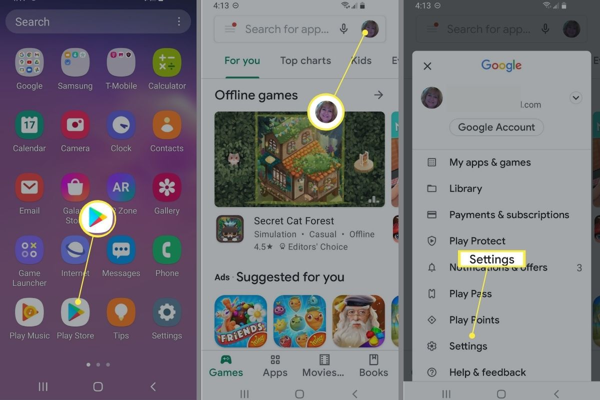 Google Play > Profile > Settings on Android phone.