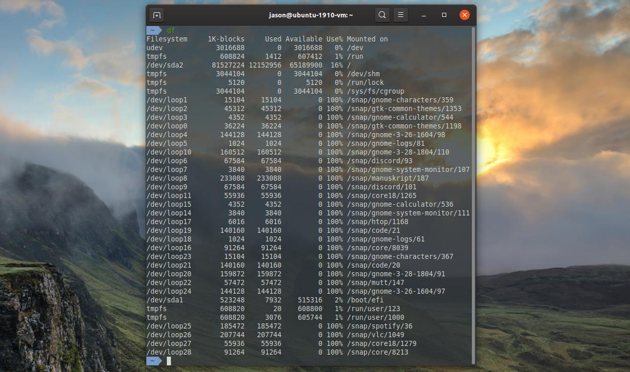 Linux df command output