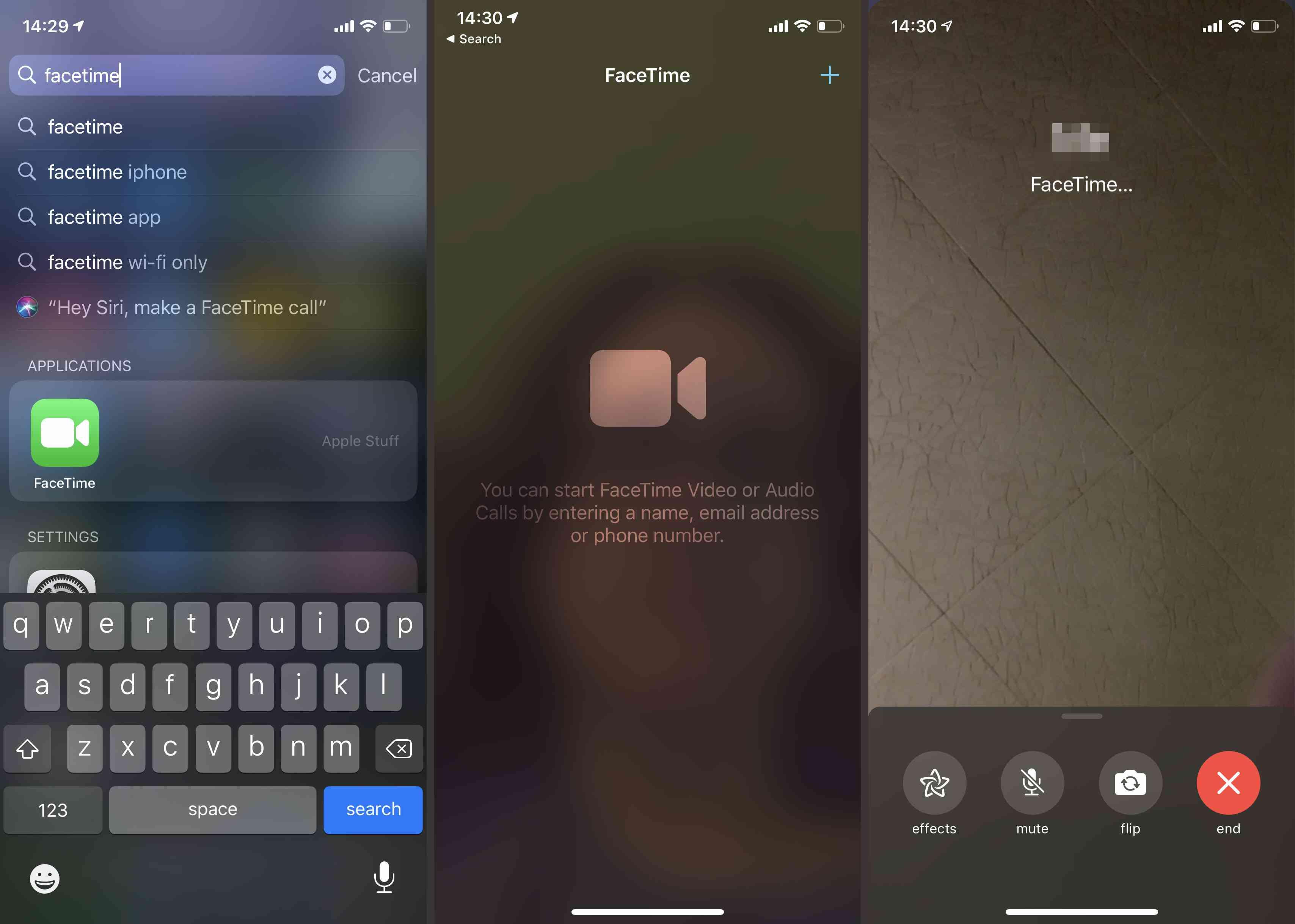 FaceTime app on iOS