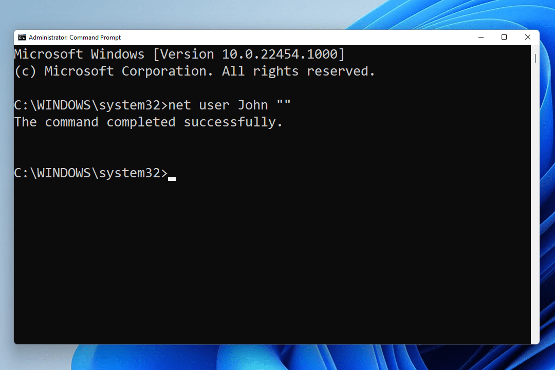 Windows 11 net user blank password command