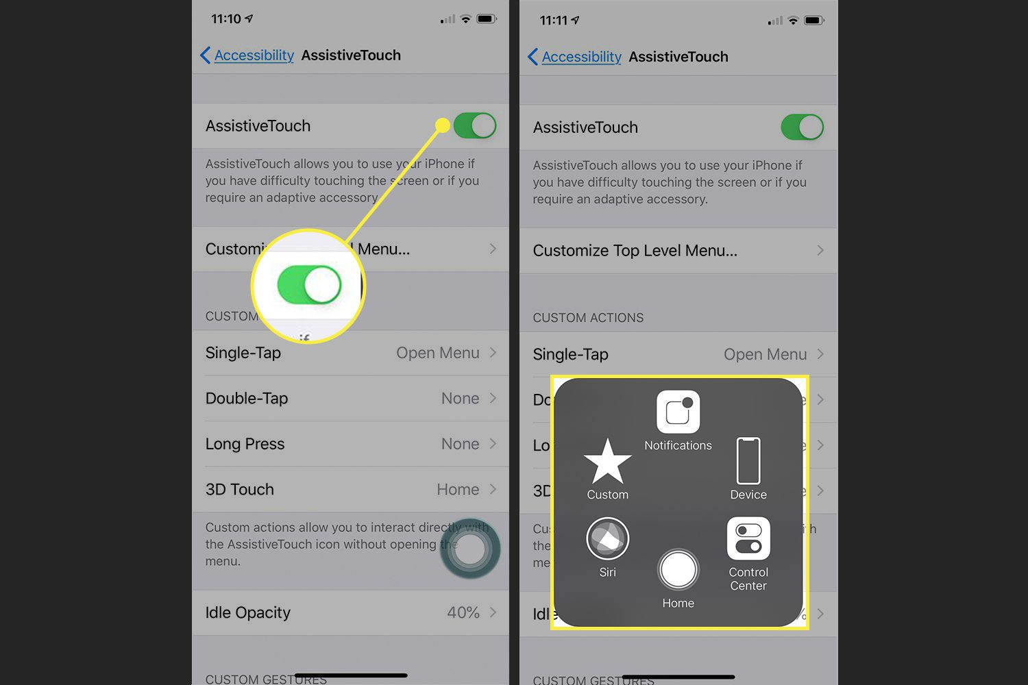 Screenshots of an iPhone's settings with the AssistiveTouch switch and menu highlighted