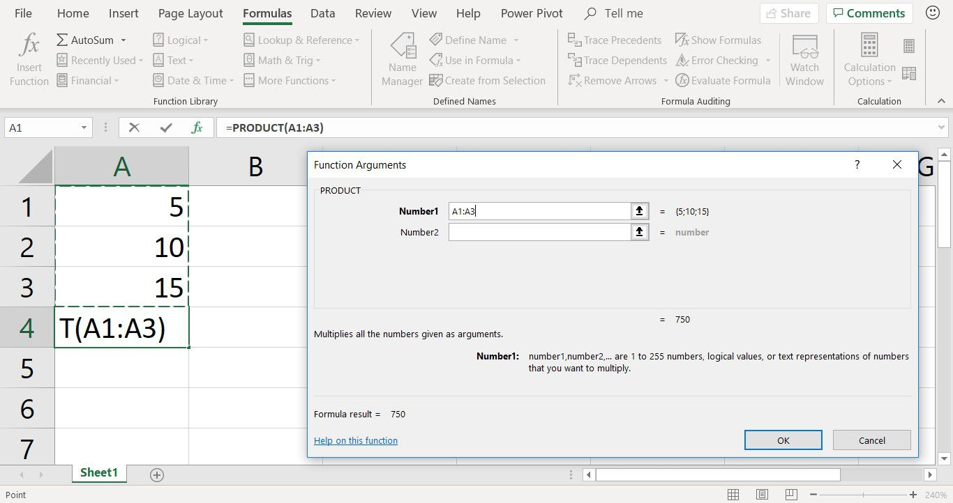 A screenshot showing the PRODUCT function arguments dialog box in Excel