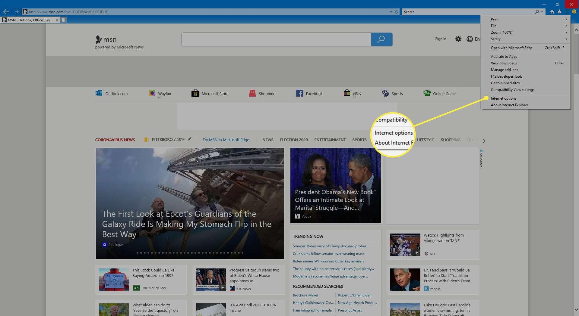Internet Options in Internet Explorer settings