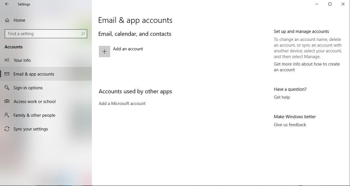 A screenshot of the Windows 10 Email & app accounts settings
