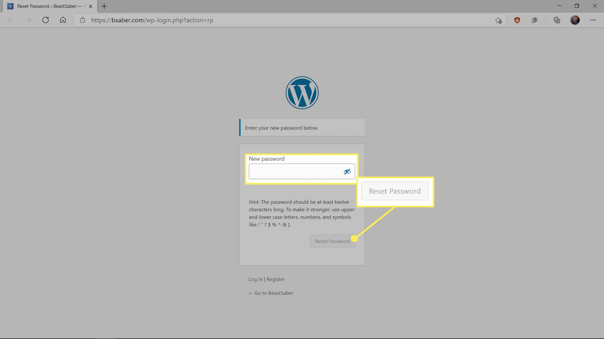 Creating a password on the bsaber website.