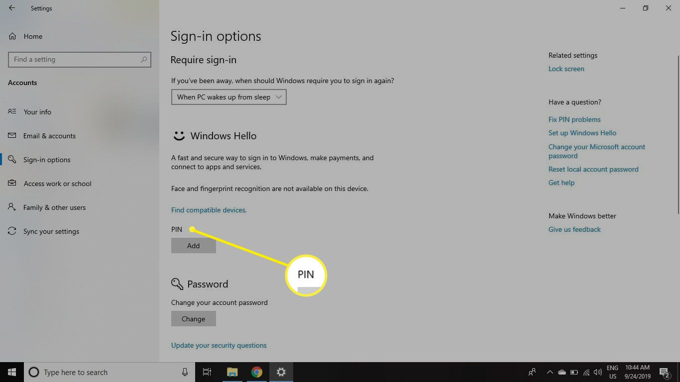 Set Up will appear under Windows Hello if your computer supports it