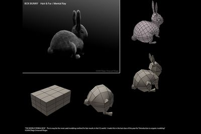A bunny being 3D modeled from a box.