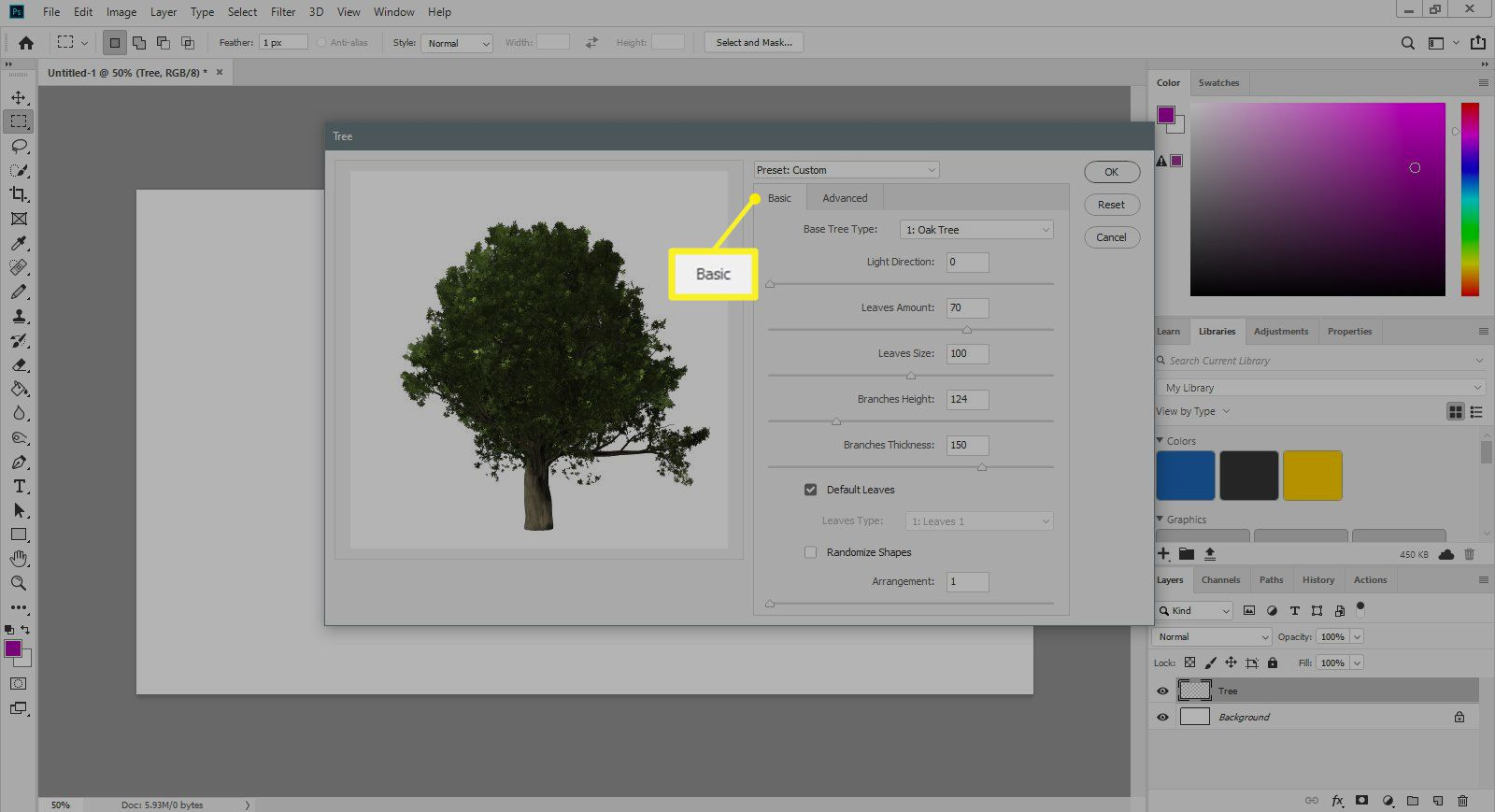 Base tab of tree filter dialogue in Photoshop