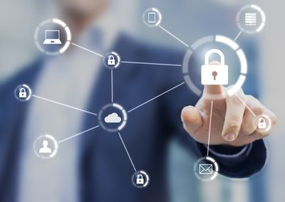 Finger pressing a lock icon in superimposed network illustration